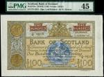Bank of Scotland, £100, 22 November 1962, serial number 2/N 0518, brown on pale orange underprint, a