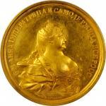 1730年俄罗斯安娜加冕金币 PCGS MS 61