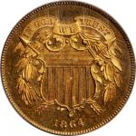 1864 Two-Cent Piece. Large Motto. Proof-65 RD Cameo (PCGS). CAC. Secure Holder.