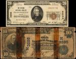 Lot of (2) Indiana National Bank Notes. $10 & $20 1902 Date Back & 1929 Ty. 1. Fr. 616 & 1802-1. Cha