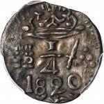 COLOMBIA. Santa Marta. 1820 1/4 Real. Restrepo 104.1. Copper. AU-55 (PCGS).