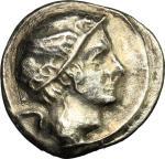 Etruscan Coins, Etruria, Populonia. AR 5-Asses, 3rd century BC. Vecchi EC I, 84.12 (O5), HN Italy 16