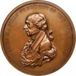 1809 James Madison Indian Peace Medal. Bronze. 76 mm. Julian IP-5. First Reverse. MS-64BN (NGC).