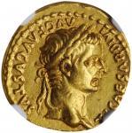 TIBERIUS, A.D. 14-37. AV Aureus (7.84 gms), Lugdunum Mint, A.D. 18-35. NGC Ch EF, Strike: 5/5 Surfac