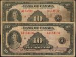 CANADA. Lot of (2) Bank of Canada. 10 Dollars, 1935. BC-7. Very Fine.