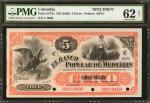 COLOMBIA. Banco Popular De Medellín. 5 Pesos, 18__. P-S772s. Specimen. PMG Uncirculated 62 Net.