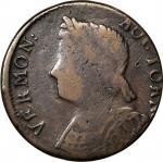1786 Vermont Copper. RR-10, Bressett 8-G, W-2045. Rarity-4. Bust Left. Fine-12 Light Scratches.