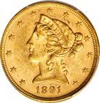1891 Liberty Head Half Eagle. MS-62 (PCGS). CAC.