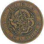 Lot 1024 KIRIN: Kuang Hsu, 1875-1908, AE 20 cash, ND 40190341, Y-178, Fine to VF。