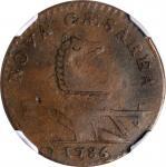 1786 New Jersey Copper. Maris 14-J, W-4810. Rarity-1. Straight Plow Beam, Stegosaurus Head. EF-45 BN