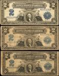 Lot of (3) Fr. 255, 256 & 258 1899 $2 Silver Certificates. Fine to Very Fine.