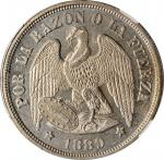CHILE. Peso, 1889-So. Santiago Mint. NGC MS-64.