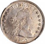 1803 Draped Bust Silver Dollar. BB-255, B-6. Rarity-2. Large 3. AU-50 (NGC).