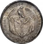 COLOMBIA. 1865 Peso. Bogotá mint. Restrepo 315.4. MS-64 (PCGS).