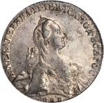 RUSSIA. Ruble, 1766-CNB AW. Catherine II (the Great) (1762-96). PCGS AU-55 Secure Holder.