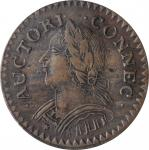 1787 Connecticut Copper. Miller 6.1-M, W-2820. Rarity-2. Mailed Bust Left, First Laughing Head. EF-4