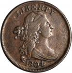 1804 Draped Bust Half Cent. C-10. Rarity-1. Crosslet 4, Stems to Wreath. VF-20.