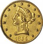 1854-O Liberty Head Eagle. Small Date. AU-50 (PCGS). CAC.