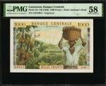 CAMEROON. Banque Centrale. 1000 Francs, ND (1962). P-12a. PMG Choice About Uncirculated 58.