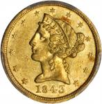1843-D Liberty Half Eagle. Medium D. AU-55 (PCGS).