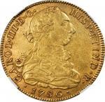 COLOMBIA. 8 Escudos, 1786-NR JJ. Nuevo Reino (Bogota) Mint. Charles III (1759-88). NGC AU-58.