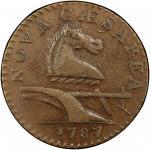 1787 New Jersey copper. Maris 64-t. Rarity-1. Small Planchet. AU-50 (PCGS).