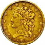 1835 Classic Head Half Eagle. McCloskey-2. Second Head, Small Date. VF-25 (PCGS).