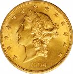 1904 Liberty Head Double Eagle. Unc Details--Cleaned (PCGS).