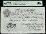 Bank of England, John Nairne (1902-1918), 5, London, 2 March 1916, serial number 2/E 66772, black an