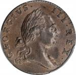 1773 Virginia Halfpenny. Newman 25-M, W-1580. Rarity-2. Period After GEORGIVS, 7 Harp Strings. MS-63
