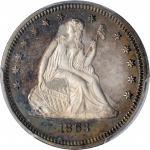 1863 Liberty Seated Quarter. Proof-66 Cameo (PCGS).