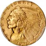 1925-D Indian Quarter Eagle. MS-64+ (PCGS).