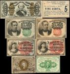 Lot of (8). Fractional Currency & Obsolete Note. 5, 10 & 50 Cents. Very Fine to Extremely Fine.