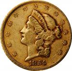 1854 Liberty Head Double Eagle. Small Date. Repunched Date. Very Fine, Bent (Uncertified).