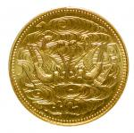 Japan, gold 100,000Yen, 61st Year of Showa (1986), Chrysanthemum emblem on obverse, doves and clouds
