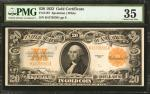 Fr. 1187. 1922 $20 Gold Certificate. PMG Choice Very Fine 35.