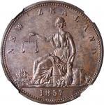 NEW ZEALAND. Auckland. Archibald Clark. Penny Token, 1857. NGC MS-63 BN.