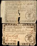 Lot of (2) SC-125. South Carolina. March 6, 1776. 15 Pounds. Poor.