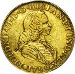 COLOMBIA. 1759-J 4 Escudos. Santa Fe de Nuevo Reino (Bogotá) mint. Ferdinand VI (1746-1759). Restrep