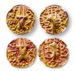 13789 寄多罗王朝普拉塔帕迪亚二世金币二枚,重:7.7、7.7g,众诚评CHAU 寄多罗王朝原本是贵霜帝国的附属国,4世纪推翻贵霜而建立。金币也继承了贵霜的传统,由于建立时间不长,国力衰弱。故钱币