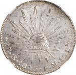 1845-Go PM年墨西哥鹰洋壹圆银币。瓜纳华托造币厂。 MEXICO. 8 Reales, 1845-Go PM. Guanajuato Mint. NGC MS-63.