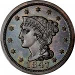 1847 Braided Hair Cent. N-42. Rarity-6. Proof-66 BN (PCGS). CAC.