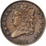 1831 Classic Head Half Cent. C-1, the only known dies. Rarity-6-. EF-45 (PCGS).