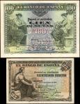 SPAIN. Banco de Espana. 25 & 100 Pesetas, 1906-07. P-57 & 59. Extremely Fine.