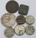 INDIA インド Lot of 8 coins 银货5枚を含む土候国各种  计8枚组 8pcs 返品不可 要下见 Sold as is No returns F~VF