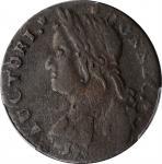1788 Connecticut Copper. Miller 16.3-N, W-4610. Rarity-2. Draped Bust Left—Struck over a 1787 Massac