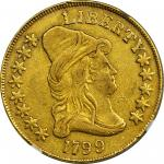 1799 Capped Bust Right Eagle. BD-10, Taraszka-22. Rarity-3. Large Obverse Stars. EF-45 (NGC).