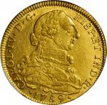 COLOMBIA. 8 Escudos, 1789-NR JJ. Santa Fe de Nuevo Reino (Bogota) Mint. Charles IV (1788-1808). PCGS