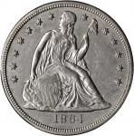 1864 Liberty Seated Silver Dollar. OC-1. Rarity-2. Repunched Date. AU Details--Repaired (PCGS).
