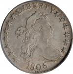 1806 Draped Bust Half Dollar. O-109a, T-15. Rarity-3. Pointed 6, Stem Not Through Claw. VF-30 (PCGS)